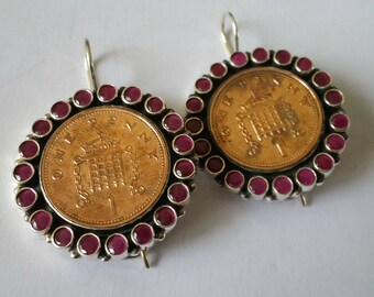 Unique sterling silver and ruby penny/5 pence coin earring (Clip-on)
