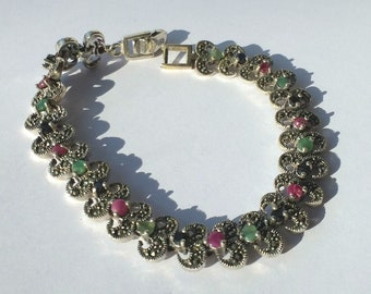 925 Marcasite stering silver adjustable bracelet with ruby, emerald and blue saffire