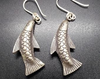 Oxidised silver (99% pure) - fish drop earrings
