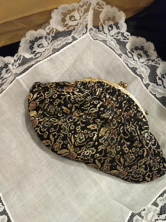 Vintage Petite Black and Gold Floral Purse