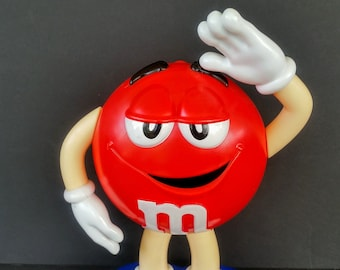 Red M&Ms Candy Dispenser Stand Up Plastic Mar Inc Candyrific # 91043