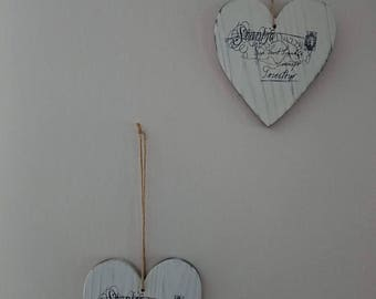 Heart wall decor in wood
