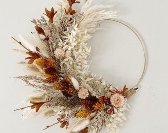 Brown, Mustard Hops and Blush Dried and Faux Fall wreath, Dried Foliage Wreath, Neutral everlasting wreath, Cottage Core Wreath