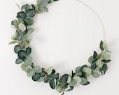 Greenery Gold Hoop Wreath, Hoop Wreath, Curb Appeal, Modern Wreath, Eucalyptus wreath, Minimalist Wreath, Scandinavian Wreath