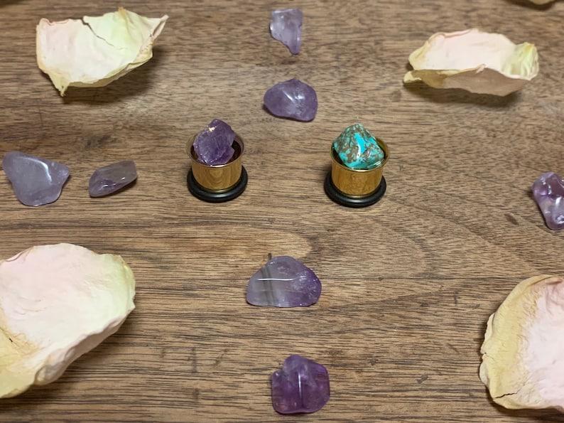 12mm Turquoise and Amethyst Ear Plugs gold tone ear plugs 12\u201d