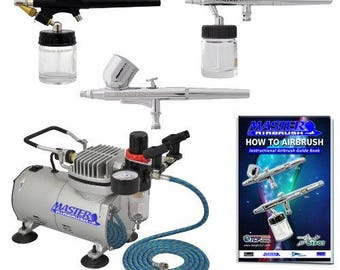 Master Professional Airbrush Kit 3 airbrush and 54 paintings