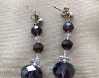Blueberry Color Glass Bead Earring