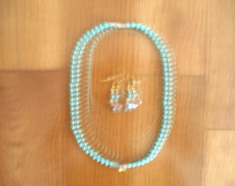 Handmade Teal Colored Beaded Necklace with matching earring
