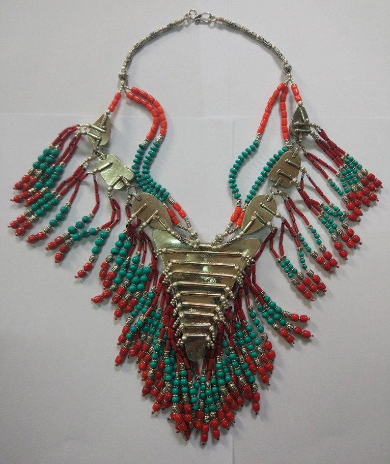 Ethnic Regional jewelry Tibetan silver Necklace Vintage Turquoise and coral beads Handmade FREE SHIPPING  PLL