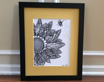 Flower and Bee - Wall Art Print of a hand-drawn original Zentangle
