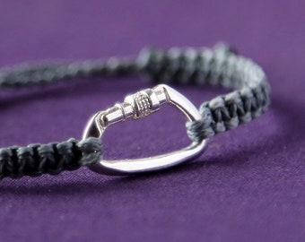 Musket bracelet - climbing bracelet - adjustable size - solid silver - colour of your choice - carabiner pendant - unisex bracelet