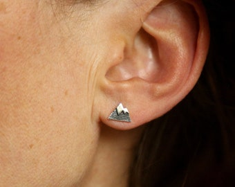 Silver earrings, minimalist mountain with snowy top, suitable for adults and children, unisex