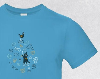 T-shirt with cat pattern and climbing wall, available in model woman, man, child with several choice of colors