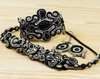 Black Soutache Embroidery Jewelry Set for Women. Hairband, Earrings and Bracelet.