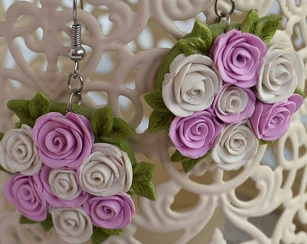 Polymer clay earrings Flower earrings Roses Polymer clay jewelry Pink rose Original Earrings  Wedding decorations Romantic gift