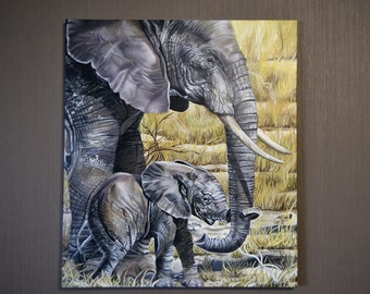 Elephant Oil Painting  Canvas painting Animal painting Oil painting Wild animals Large Elephant Painting Realism