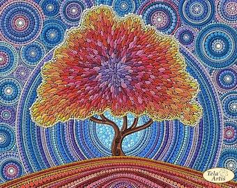 Bead embroidery kit The tree of happiness, Needlepoint kit Happy tree, Housewarming gift