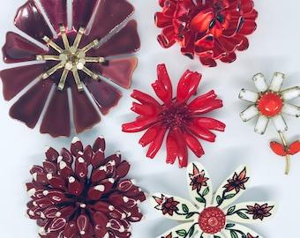 1960s Vintage Flower Pins - Flower Power - Enamel Flower Brooch - Enamel Flower Pins- Red Flower Pins - Happy Pins