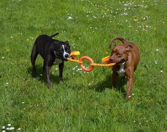 Extra Large Double Tug Toy with a Flexible Center Ring Great for Tugging, Interactive Dog Toy, Chase/Fetch/Throw Toy By Boss Dog Toys