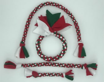 Christmas Knotted Fleece Tug Toys For Dogs By Happy Tail Dog Toys