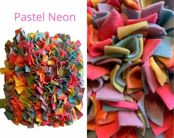 Pastel Neon WASHABLE Dense 17x19 inch Custom Snuffle Mat/ Treat Puzzle/ Interactive Rooting Mat/ Enrichment Toy/Reward Mat for Dogs/ Puppy