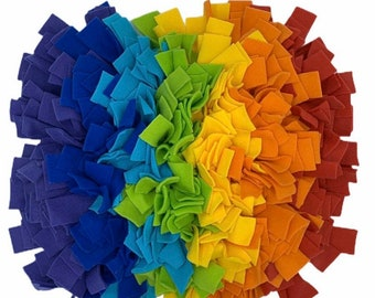 Rainbow WASHABLE Dense 17x19 inch Custom Snuffle Mat/ Treat Puzzle/ Interactive Rooting Mat/ Enrichment Toy/Reward Mat for Dogs/ Puppy