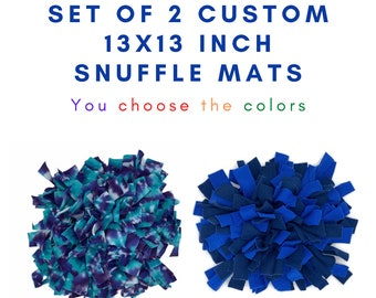 CUSTOM SET of 2 13x13 inch WASHABLE Snuffle Mats/ Treat Puzzle/ Interactive Rooting Mat/ Enrichment Toy/Reward Mat for Dogs/ Puppy