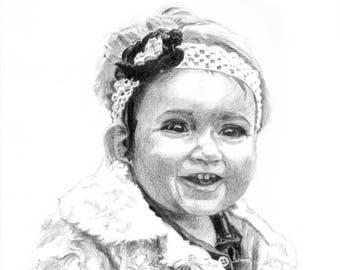 8x10 inch Custom Portrait or Pet Portrait, Sketch