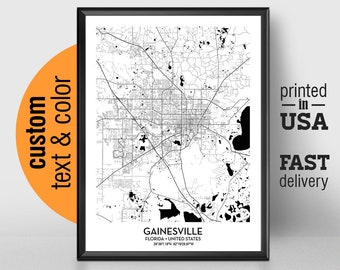 Gainesville Florida Map.Gainesville Map Etsy