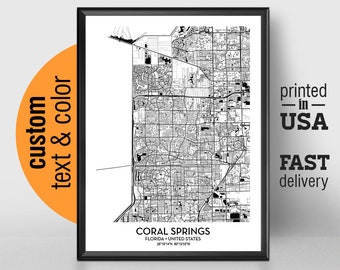 Coral Springs Florida Map.Modern Elegant Personalized Art By Love4maps On Etsy