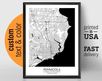 Map Pensacola Florida.Pensacola Map Etsy