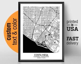 Costa Mesa Map Etsy
