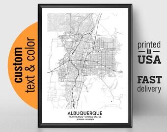 Albuquerque nm map   Etsy