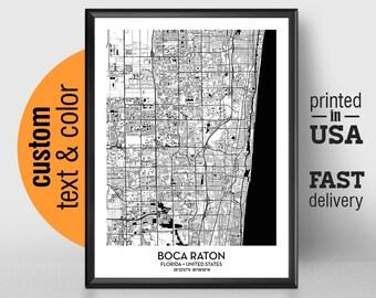 Map Of Boca Raton Florida.Boca Raton Poster Etsy