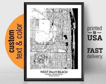 West Palm Beach Florida Map.Mapa De West Palm Beach Etsy