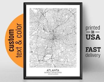 Atlanta map | Etsy