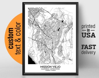 Mission Viejo Map Etsy