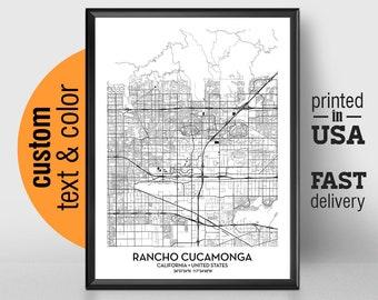 Rancho Cucamonga Map Etsy