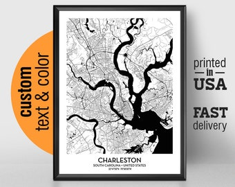 Charleston Sc Map Etsy