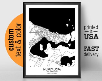 Tonga Map Square  Labelled Watercolour  Digital or Printed Wall Art  Large Map Poster  Gift Idea  Giclee Print  Tonga Home Decor