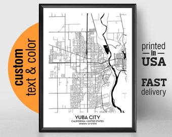 Map Of California Yuba City.Yuba City Etsy