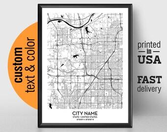 Lenexa Kansas Map.Lenexa Ks City Map Etsy