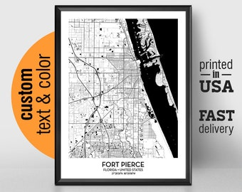 Fort Pierce Florida Map.Map Of Fort Pierce Etsy