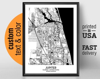 Map Jupiter Florida.Jupiter Florida Map Etsy