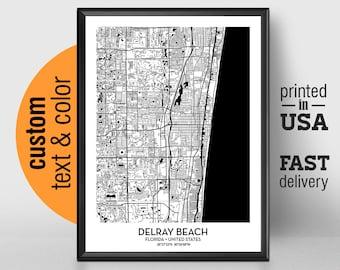 Delray Florida Map.Delray Beach Map Etsy