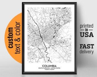 Columbia sc map   Etsy