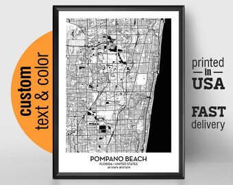 Map Of Pompano Beach Etsy