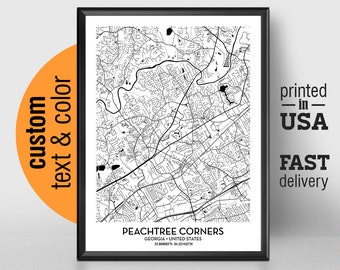 Peachtree Georgia Map.Peachtree City Ga Etsy