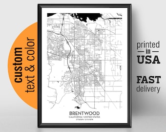 Brentwood Map Etsy