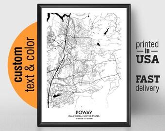 Poway California Map.Poway California Etsy